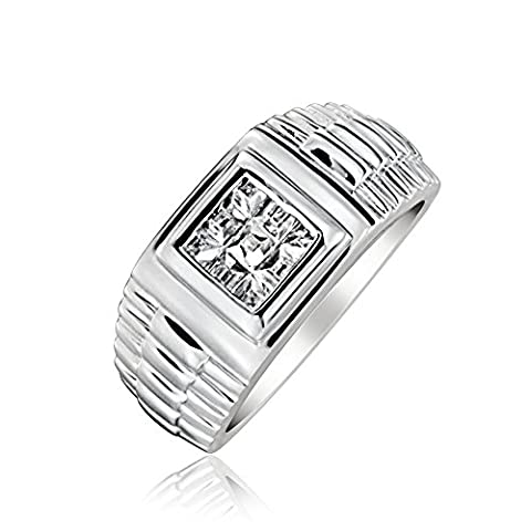 Bling Jewelry Argent Sterling Princess Cut Stone CZ Watch Band Style anneau Mens