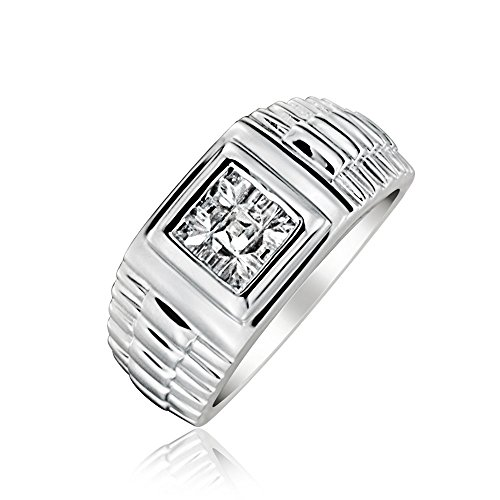 Bling-Jewelry-Sterling-Silber-Princess-Schliff-Stein-CZ-Ring-Style-Herren-Ring