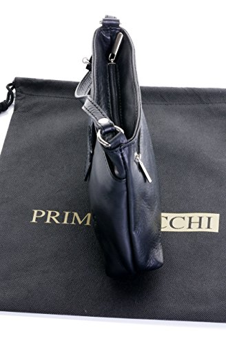 Italiano in morbida pelle, piccolo cinturino fronteggiato triplo vano cinghia regolabile croce corpo o borsa a tracolla.Include una custodia protettiva marca. Nero