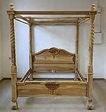 Himmelbett B 160 x L 200 Teak-Holz Antik-Stil Bett