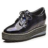 RoseG Damen Mode Leder Schnürschuhe Keilabsatz Plateau Schuhe Silber 39