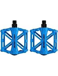 Pedales para bici bmx Bicicleta de montaña MTB ciclismo de carreras ultraligero pedal de aleación (Azul)