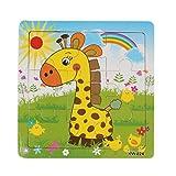 Tonsee Unisex Cartoon Baby Tier Puzzle Board Rätsel 2-5 Jahre alt Kind Tangram aus Holz Kinder Spielzeug Puzzle pädagogisches lernspielzeug,Giraffe