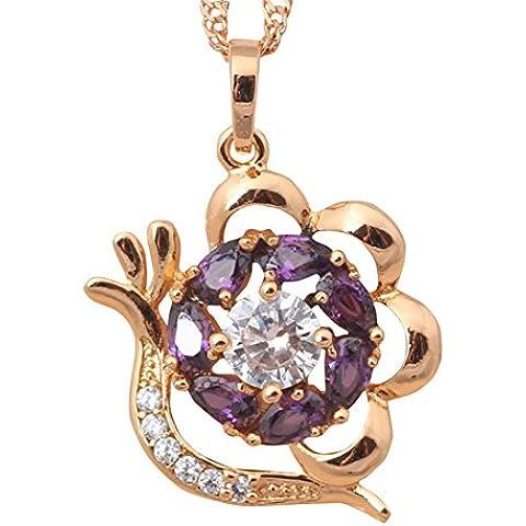 Bling alla Moda Stile Boemia collana placcata oro giallo 18K Ciondolo arractive cristallo ametista viola zircone Fashion Jewelry
