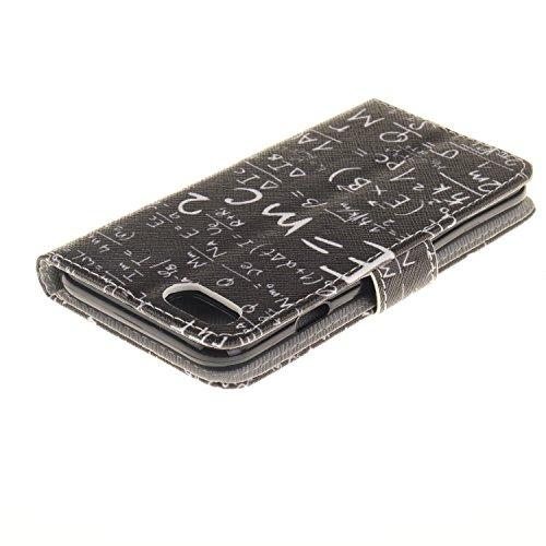 AllDo Standfunktion Schutzhülle für iPhone 7 PU Leder Hülle Brieftasche Mappen Kasten Klapp Handyhülle Flip Wallet Case Cover Kreative Muster Hülle Ultra Dünne Leichte Schale Weiche Flexible Tasche St Masse-Energie-Gleichung