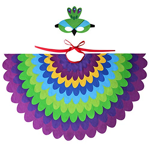 Eule Kostüm Filz - TTXLY Halloween Mantel Flügel Kinder Jungen Mädchen Fee Vogel Eule Papagei Dress Up Kostüme Bunte Flügel Cape mit Filz Augenmaske 2 STÜCKE Set