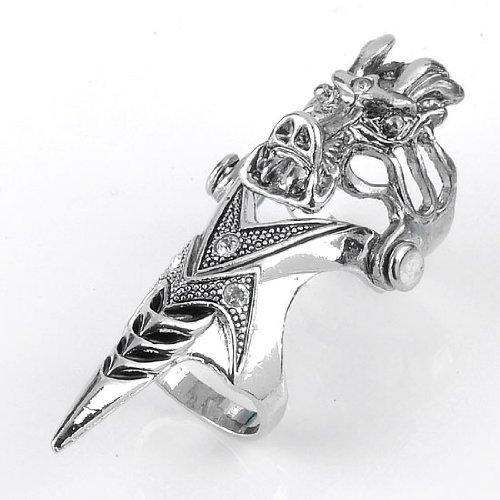 1pc Cristal Cabeza de dragón de Spike Punk doble dedo anillo de hombre gótico