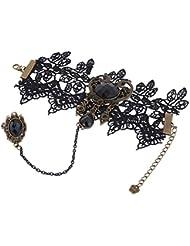 Yazilind Negro pulseras de encaje con Anillo Lolita acrílico rebordea el collar de cadena de metal del banquete de boda de Halloween para la Mujer