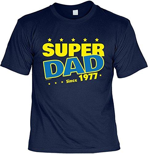T-Shirt zum 40. Geburtstag Super Dad Since 1977 Geschenk zum 40 Geburtstag 40 Jahre Geburtstagsgeschenk 40-jähriger Navyblau