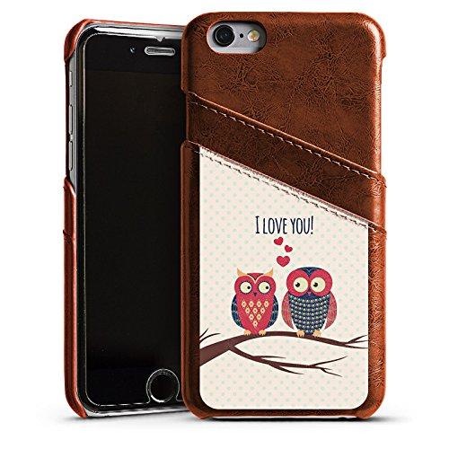 Apple iPhone 5s Housse étui coque protection C½ur Hibou Hibou Étui en cuir marron