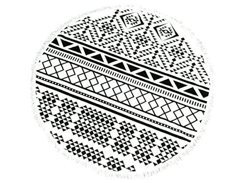 Vfk v regalo asciugamano tondo mare stampato con motivi geometrici con nappe asciugamano telo mare assorbente blu con motivi morbidi coperta in microfibra 150x150cm per il bambino