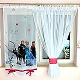 Tkaniny GFE-2 Disney Kindergardine für Mädchen/Kinder mit Motiv EISKÖNIGIN ELSA & Anna Frozen für Kinderzimmer/Mädchenzimmer Pink