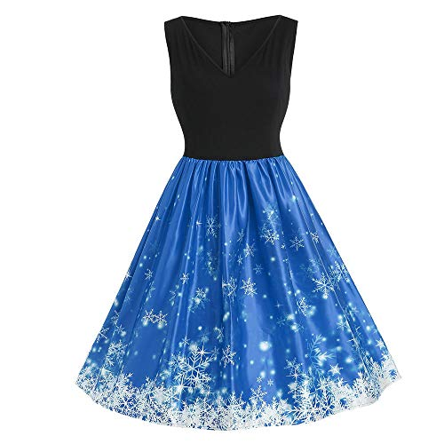 FeiBeauty Große größe Frauen Mode Weihnachtsmann Schneeflocke Drucken Ärmelloses Sexy V-Ausschnitt Party Pane Retro Kleid Party Rock XL-5XL