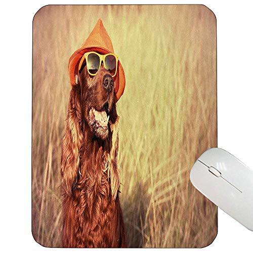 Tier besonders angefertigt Mausunterlage Lustiger Retro Irischer Setter-Hundetragender Hut und Sonnenbrille Humorvolle Frohe Bild-Mausunterlage Rotbraune TAN herein,Gummimatte 11,8