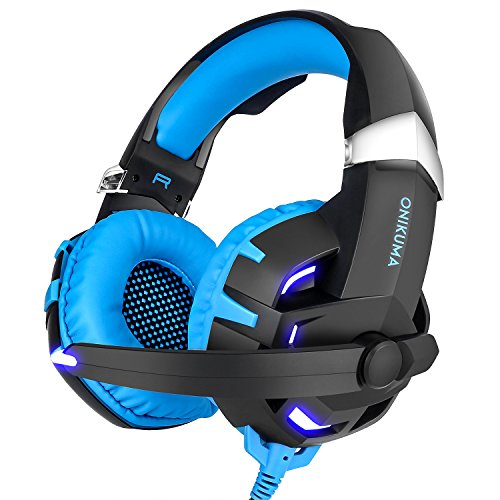 Gaming Headset, onikuma K2 7.1 Kanal Surround Sound Stereo Over-Ear-Kopfhörer mit Geräuschisolierung Mikrofon Inline-Kontroll-LED für PC PS4 Xbox One blau blau (Walkie 50-kanal Talkies)