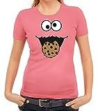 Karneval Fasching Verkleidung Damen T-Shirt Gruppen & Paar Kostüm Blaues Monster Premium, Größe: S,Rosa