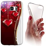 Huawei Honor 7 Softcase Hülle Cover Backkover Softcase TPU Hülle Slim Case für Huwaei Honor 7 (1146 Herz Herzen Rot Weiß Gold)