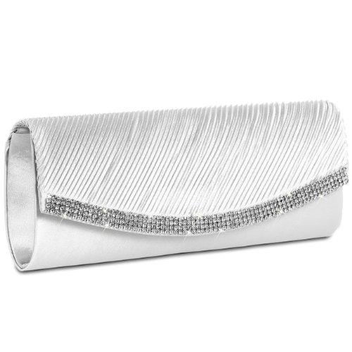 Damen-satin-clutch (CASPAR TA291 Damen Satin Clutch, Farbe:weiss)