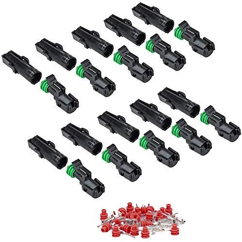 IMAGINE 10 Kit 1 Pin Connettore Elettrico spina Impermeabile 1.5mm terminale 20-14 AWG Nylon Connettore Impermeabile per Auto Camion Marina Moto (Sigillo Verde 1 Spina)