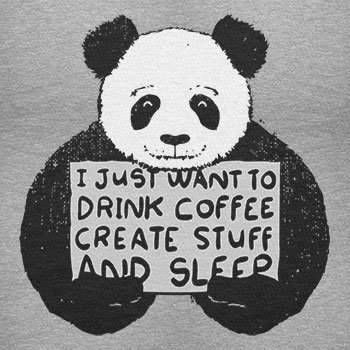 NERDO - Drink coffee, create stuff and sleep - Damen T-Shirt Grau Meliert