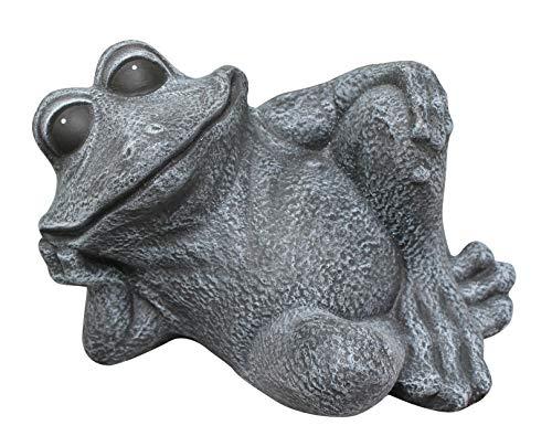 Tiefes Kunsthandwerk Steinfigur Frosch sitzend Steinguss Schiefergrau