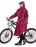 Ommda Bike Fahrrad Regenjacken Regenponcho Wasserdicht Regenmantel für Die Jagd Camping Freizeit Regenmäntel Regencape Weinrot 3XL