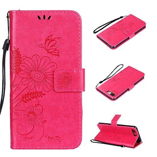 Cover per iPhone 8 Plus / iPhone 7 Plus, Vectady Custodia Cover in Pelle a Libro Portafoglio Wallet Magnetica Flip Cuoio Leather Case Protettiva Antiurto Caso con Porta Carte Funzione Cinturino da Pol Rosa Rosso Colore