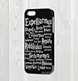iPhone 4/5/5s/6/6-Custodia rigida con citazione di Harry Potter Spells, plastica, nero, iPhone 4/4S