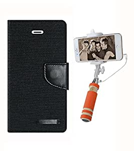 Aart Fancy Wallet Dairy Jeans Flip Case Cover for MotorolaMotoE (Black) + Mini Fashionable Selfie Stick Compatible for all Mobiles Phones By Aart Store