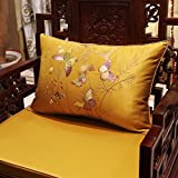 Home Sofa Car Decoration Ornament Hold Throw Pillow Cushion Christmas Thanksgiving Giftchinese-Style Pillow Embroidered Bird Pillow Back Leather Sofa Bed Car Pillow,35X50Cm,Golden