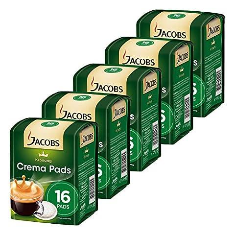 Jacobs Krönung Kaffeepads Crema Klassisch, Kaffee, geeignet für alle Padmaschinen, 5 x 16 Pads