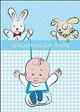 Tolle Einladungskarte zur Taufe (Mädchen) mit Baby Boy mit Stofftieren: Einladung zur Taufe • auch zum direkt Versenden mit ihrem persönlichen Text als Einleger.