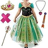 Canberries® Prinzessin Kostüm Kinder Glanz Kleid Mädchen Weihnachten Verkleidung Karneval Party Halloween Fest Set aus Diadem, Handschuhe, Zauberstab,Zopf,Halskette (120, #07 Kleid und Zubehör)