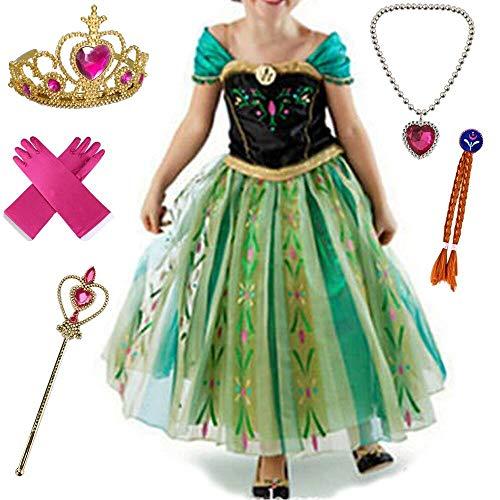 Canberries® Prinzessin Kostüm Kinder Glanz Kleid Mädchen Weihnachten Verkleidung Karneval Party Halloween Fest Set aus Diadem, Handschuhe, Zauberstab,Zopf,Halskette (150, #07 Kleid und ()