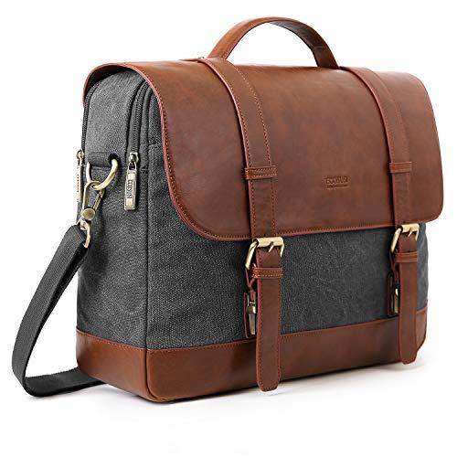 ECOSUSI Aktentasche Damen Umhängetasche Herren Laptoptasche 15,6 Zoll Canvas Tasche Vintage Damen Schultasche Lehrertasche Grau