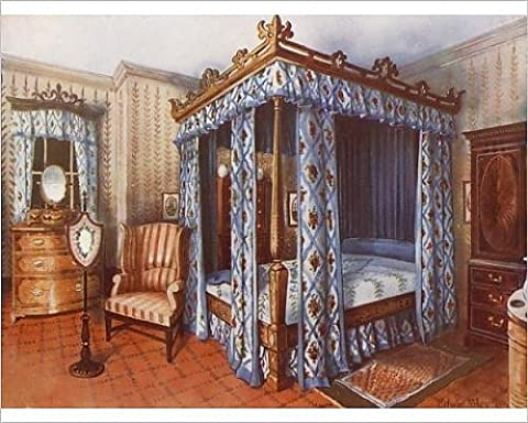 Photographic Print of A Hepplewhite Bedroom. Chintz-Curtained Inlaid Satinwood