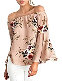 Imixcity Women's Summer Off Shoulder Vintage Floral Print 3/4-Sleeve Shirt Loose Casual Blouse Tops T-Shir