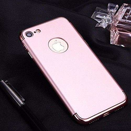 "Coque iPhone 7 Plus, Aohro 3 en 1 Hybride Ultra Mince Plating en PC [Dual Protection] Absorption de choc Anti-scratch Housse Etui Case Cover Pour Apple iphone 7 Plus 5.5""-Or rose Or Rose"