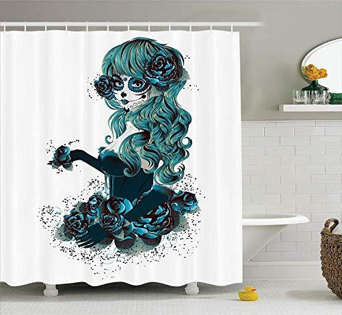 AdaCrazy Vintage Sugar Skull Mädchen Tag der Toten Braut mit dunkler Farbe Rosen Grafik Schädel Duschvorhang Stoff Badezimmer Dekor Set mit Haken Petrolblau (Skull Sugar Braut)