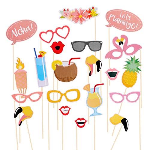 LUOEM - Kit accessori per photobooth, a tema Hawaii, luau, fenicotteri, estate, fai-da-te, per vacanze di matrimonio, spiaggia, festa, 21 pz.
