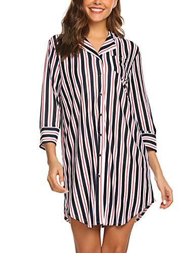 2462e0cc2cc0d5 Nachthemd Damen Nachtkleid warm Lang Herbst Winter Schlafkleid Langarmshirt  Schlafshirt Blau M