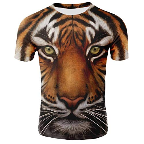 8bd107c2 KYKU Hombres de Verano T Shirt Colorful Tiger 3D Imprimir Tees Top Animal  3D Tiger T