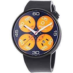 Meccaniche Veloci Quattro Valvole 3 Hand Men's Automatic Watch with Orange Dial Analogue Display and Black Rubber Strap W127K283497025