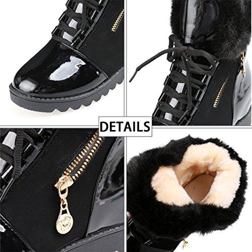 Minetom Damen Herbst Winter Warm Flaumig Stiefel Mode Lackleder Platform Schuhe Schnürhalbschuhe Pelz Schneestiefel Schwarz