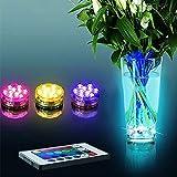 Uonlytech Luci stagnole a LED, luci piscina impermeabili con telecomando, luci a LED da immersione per piscina Halloween Christmas (6Pcs)