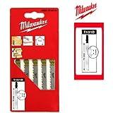 Pack de 5 lames scie sauteuse MILWAUKEE bois/PVC 75 mm denture de 4 mm 4932274351