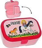 alles-meine.de GmbH Lunchbox / Brotdose -  Lotte und Ihr Pony & Pferd  - Incl. Name - mit Extra ..