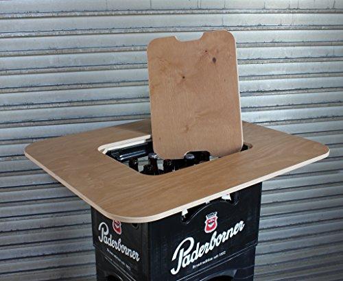 Original BestLoft® Tischaufsatz für Bierkasten – Stehtisch Partytisch Bistrotisch Tischaufsatz 70x58cm (Aufsatz+Servierbrett) - 4
