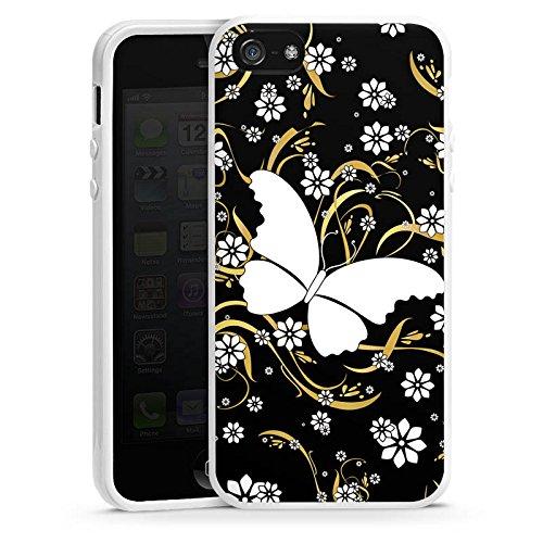Apple iPhone 4 Housse Étui Silicone Coque Protection Papillon Fleur Fleur Housse en silicone blanc