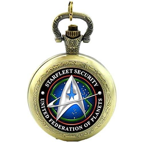 Star Trek Starfleet Collar de cuarzo de seguridad con reloj de bolsillo – efecto bronce antiguo – Caja de regalo con… 7